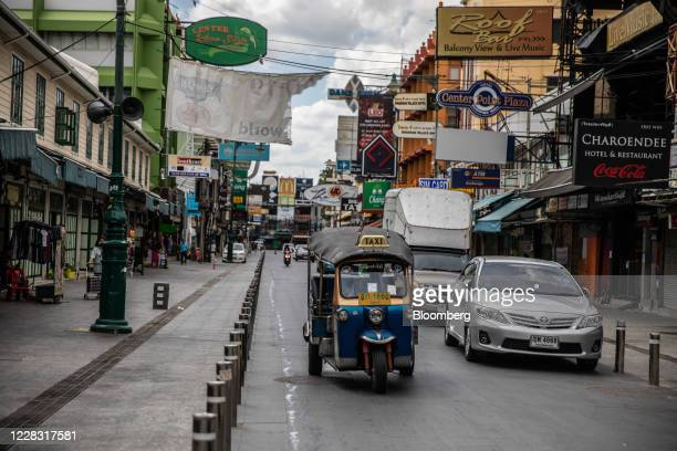 A tuktuk drives travels down a nearempty Khao San Road in Bangkok Thailand on Wednesday Sept 2 2020 Thailand has reported zero locallytransmitted...