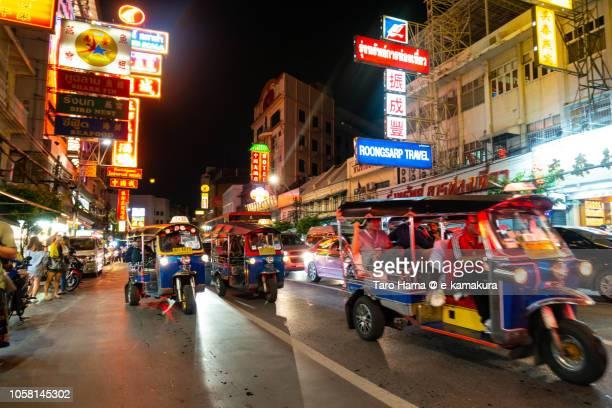 Tuktuk motor bike taxi in China town in Bangkok city