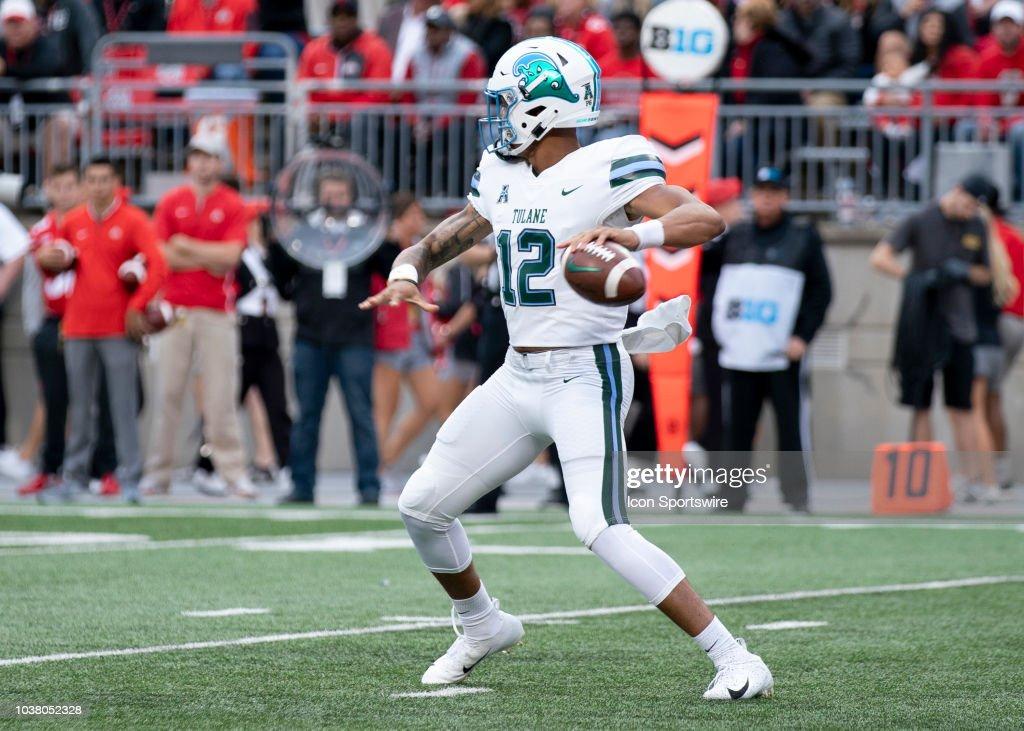 tulane green wave quarterback justin mcmillan looks to pass the ball