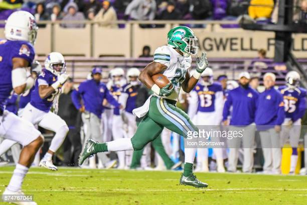 Tulane Green Wave running back Dontrell Hilliard during a college football game between the Tulane Green Wave and the East Carolina Pirates on...