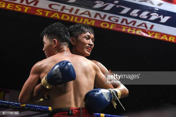 Tulek wins his Thai boxing international combat against Aahuang Sitwungluang in 60kg category during Muaythai Monday Evening International Thai...
