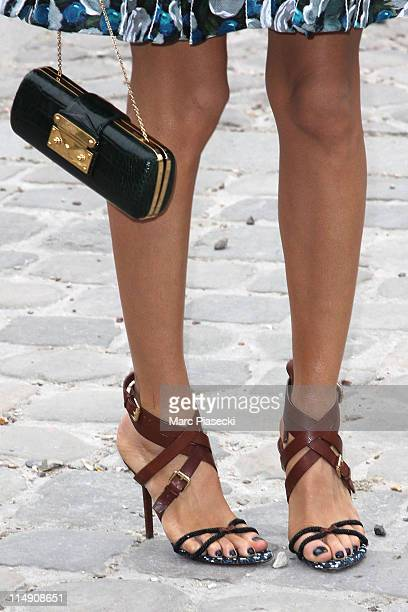 Tulin Sahin arrives at the Louis Vuitton Ready to Wear Autumn/Winter 2011/2012 show during Paris Fashion Week at Cour Carree du Louvre on March 9...