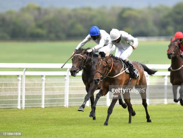 Tulip Fields ridden by Joe Fanning winning the Coral Supporting Prostate Cancercouk at Goodwood Racecourse on June 14 2020 in Chichester England...
