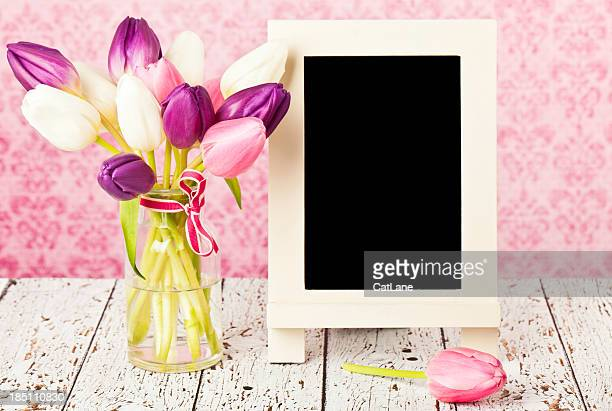 Tulips and Chalkboard for Spring Message