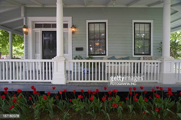 tulips by the porch - colonial style stock pictures, royalty-free photos & images