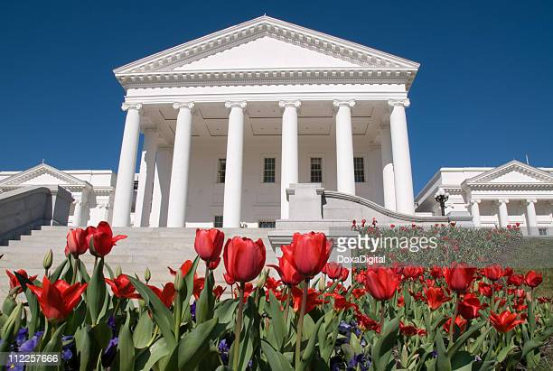 Tulips in front of the Virginia State Capitol