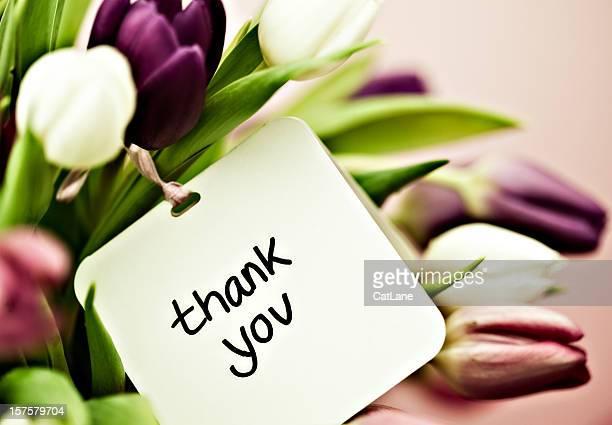 tulpen mit vielen dank-karte - danke stock-fotos und bilder