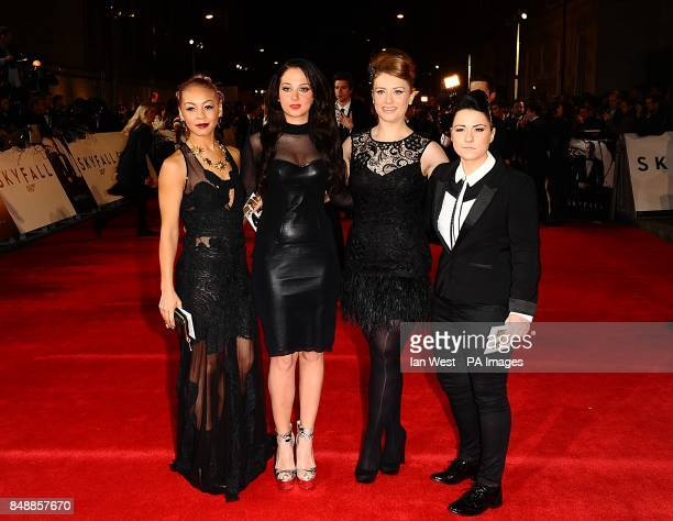 Tulisa Contastavlos with Lucy Spraggan Ella Henderson and Jade Ellis arriving for the Royal World premiere of Skyfall at the Royal Albert Hall London