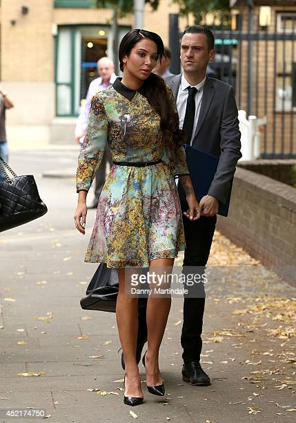 Tulisa Contostavlos arrives at court to face drug charges at Southwark Crown Court on July 14 2014 in London England
