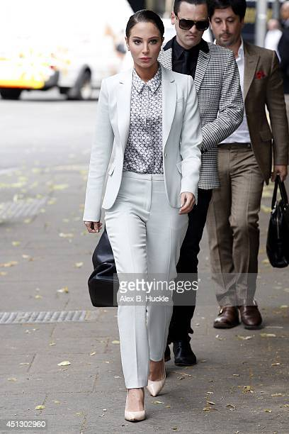 Tulisa Contostavlos arrives at Southwark Crown Court on June 27 2014 in London England