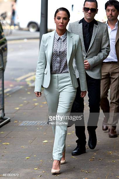 Tulisa Contostavlos arrives at Southwark Crown Court to face drug offence charges on June 27 2014 in London England