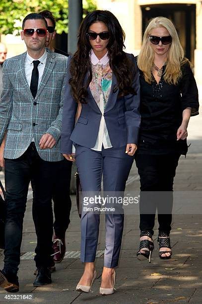 Tulisa Contostavlos arrives to face drug charges at Southwark Crown Court on July 18 2014 in London England