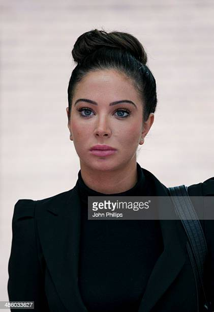 Tulisa Contostavlos arrives to face/departs where she faced drug offence charges at Southwark Crown Court on April 22 2014 in London England