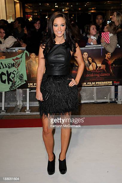 Tulisa Contostavlos attends the UK premiere of The Twilight Saga Breaking Dawn Part 1 at Westfield Stratford City on November 16 2011 in London...