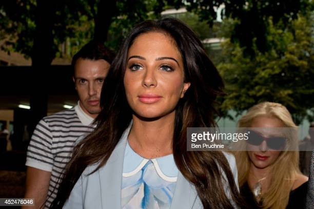 Tulisa Contostavlos departs court after facing drug charges at Southwark Crown Court on July 21 2014 in London England