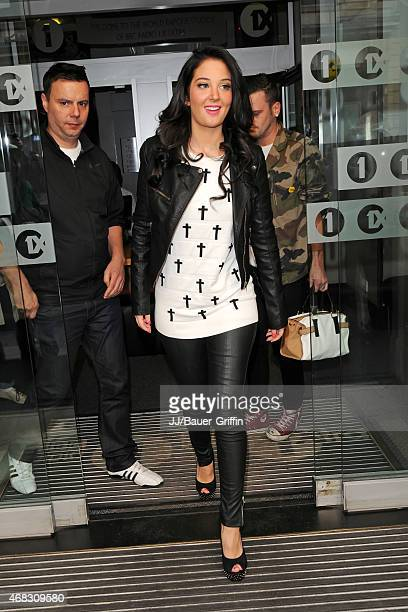 Tulisa Contostavlos is seen arriving at the BBC Radio 1 Studios on September 29 2012 in London United Kingdom