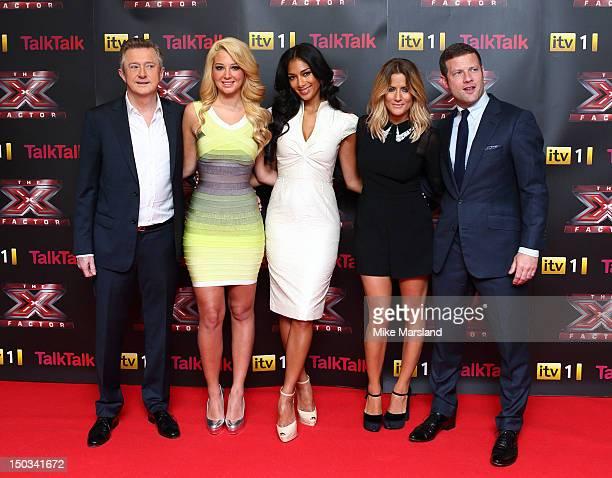 Tulisa Contostavlos, Nicole Scherzinger, Louis Walsh, Caroline Flack and Dermot O'Leary arrive for launch of The X Factor at Corinthia Hotel London...