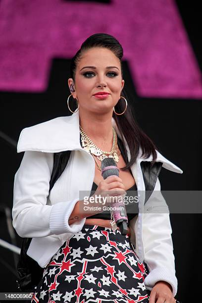 Tulisa Contostavlos performs on stage on Day 2 of Wireless Festival at Hyde Park on July 7 2012 in London United Kingdom