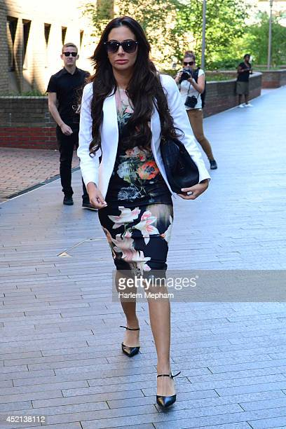 Tulisa Contostavlos sighted leaving Southwark Crown Court for lunch on July 14 2014 in London England