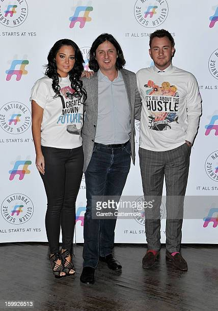 Tulisa Contostavlos Stephen Greene and Francis Boulle attend the NCS 2013 launch on January 23 2013 in London England Tulisa was on hand to encourage...