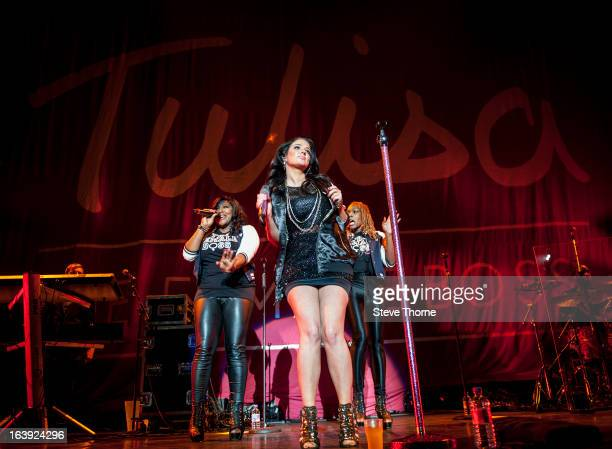 Tulisa performs on stage at LG Arena on March 14, 2013 in Birmingham, England.
