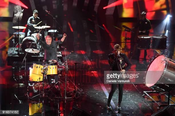 Tullio De Piscopo The Kolors and Enrico Nigiotti attend the fourth night of the 68 Sanremo Music Festival on February 9 2018 in Sanremo Italy