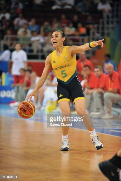 Tully Bevilaqua of Australia calls a play against the Czech Republic during day 1 of the women's quaterfinals basketball game at the 2008 Beijing...