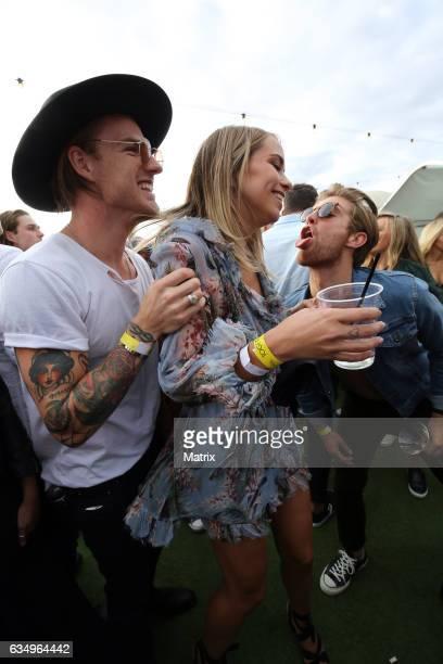 Tully Smyth and friends enjoy the St Kilda Festival on February 12 2017 in Melbourne Australia