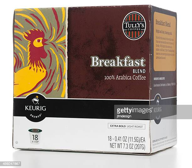 tully's breakfast blend 100% arabica coffe k-cup box - keurig green mountain stock pictures, royalty-free photos & images