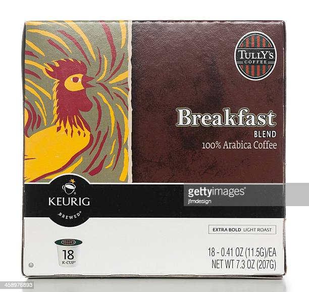 tully's breakfast blend arabica coffe k-cup box - keurig green mountain stock pictures, royalty-free photos & images