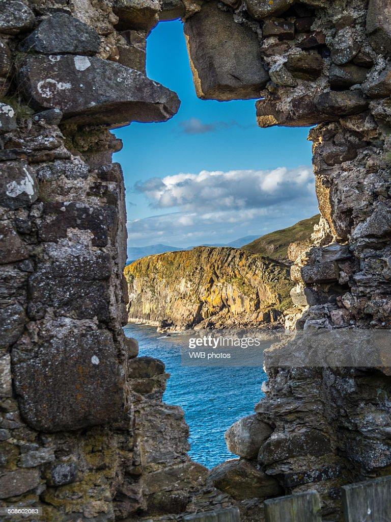 Tulm Island seen from Duntulm Castle, Isle of Skye : Stock Photo