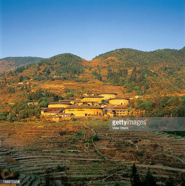 tulou,civilian houses in fujian,china - fujian tulou stock pictures, royalty-free photos & images