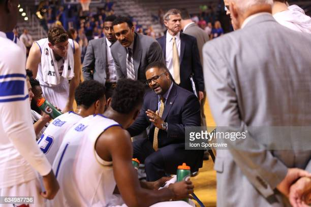 Tulsa Golden Hurricane Head Coach Frank Haith calls a timeout to provide some coaching during the AAC Mens basketball game between the Houston...