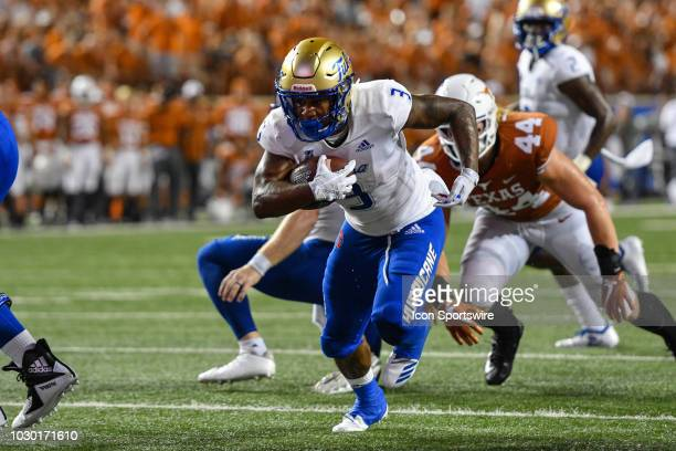 Tulsa Golden Hurricane running back Shamari Brooks runs the ball during the game between the Tulsa Golden Hurricane and the Texas Longhorns on...