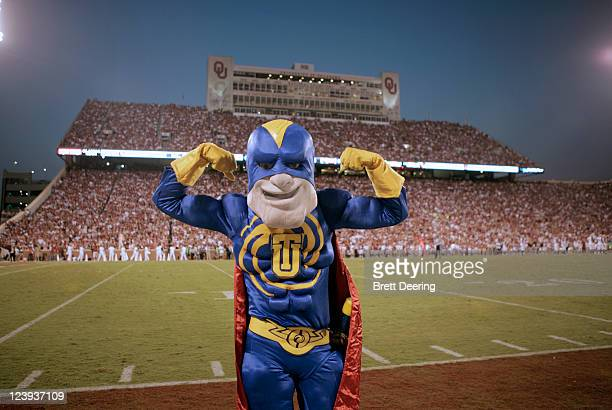 Tulsa Hurricane mascot Captain 'Cane gestures during the first quarter of the game against the Oklahoma Sooners September 3, 2011 at Gaylord...