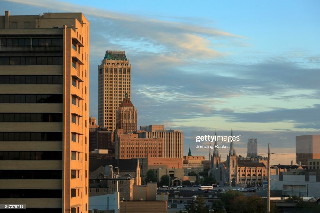Tulsa, Oklahoma, Skyline at Sunrise : News Photo