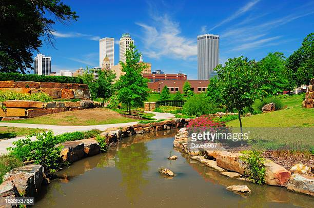 tulsa skyline and park - tulsa stock pictures, royalty-free photos & images