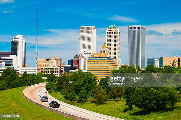 Tulsa skyline and road