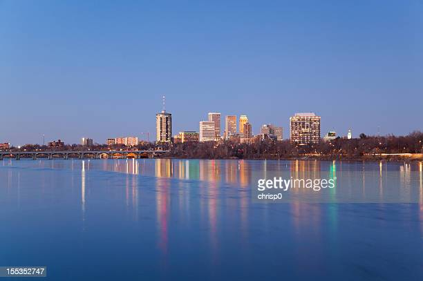 tulsa skyline at dusk - tulsa stock pictures, royalty-free photos & images