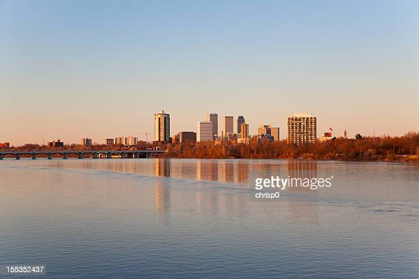 tulsa skyline at sunset - tulsa stock pictures, royalty-free photos & images