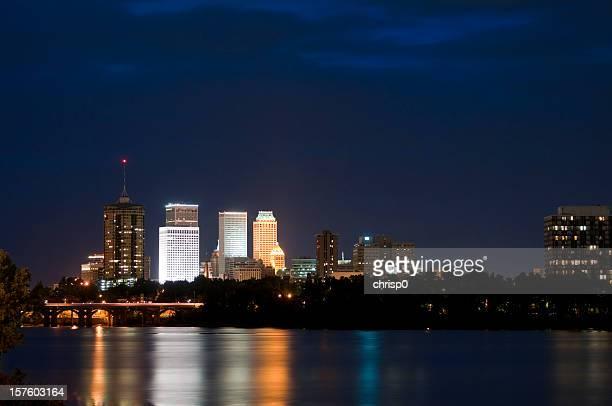 tulsa skyline at twilight - tulsa stock pictures, royalty-free photos & images