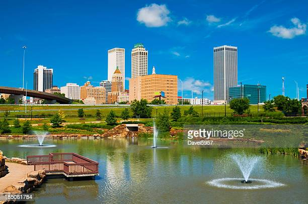 Tulsa skyline, pond, and fountains