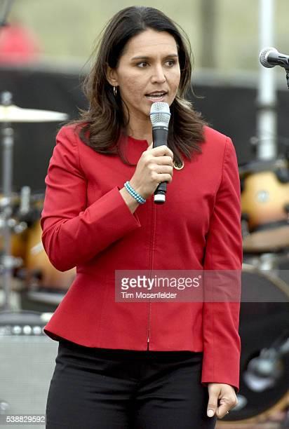 Tulsi Gabbard speaks at Bernie Sanders 'A future to believe in San Francisco GOTV Concert' at Crissy Field San Francisco on June 6 2016 in San...