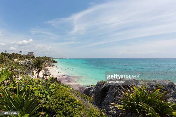 tulum archaeological site - mayans m.c stock photos and pictures