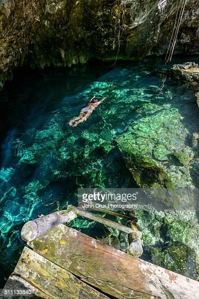 tulum cenote swim - lagoon stock pictures, royalty-free photos & images