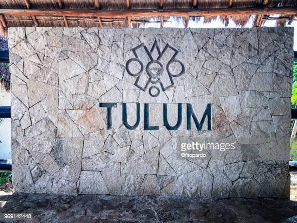 Tulum mayan ruins entrance sign
