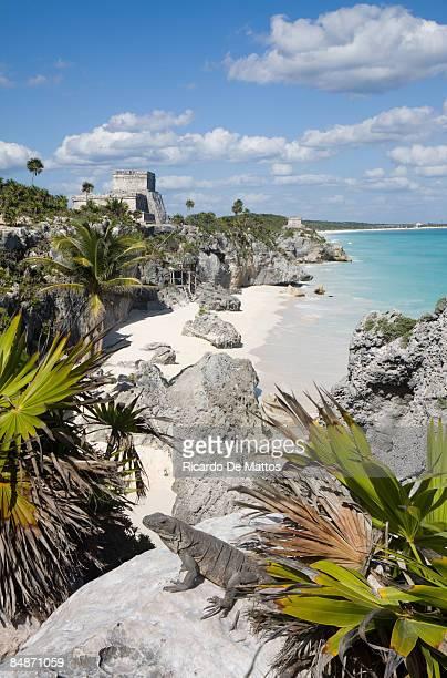 Tulum Mayan Ruins Over Tropical Beach