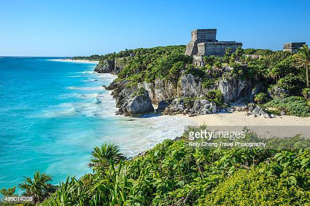 tulum mayan ruins - mayan riviera stock photos and pictures