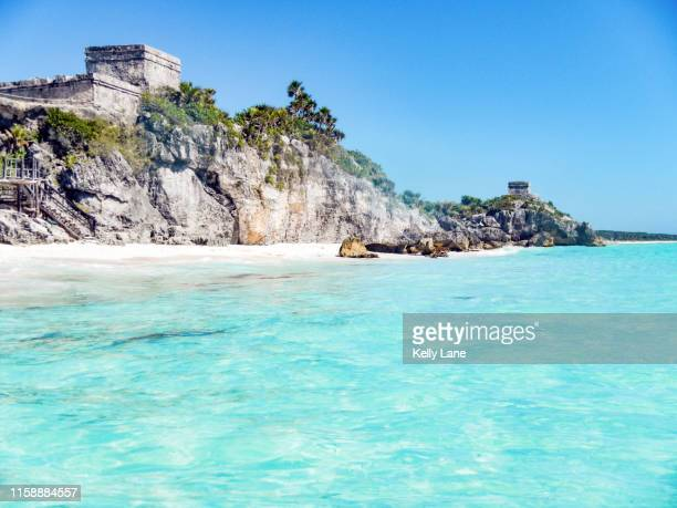tulum ruins from the caribbean sea - quintana roo stock pictures, royalty-free photos & images
