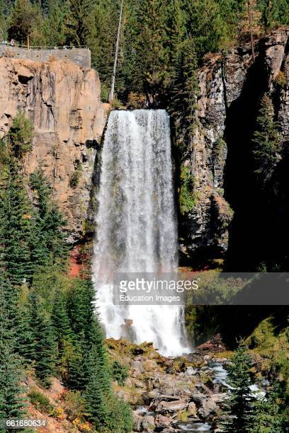 Tumalo Falls drops ninety seven feet in the Deschutes National Forest in the Cascade Mountains near Bend Oregon in fall, Tumalo Falls is on Tumalo...